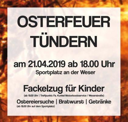 Osterfeuer 2019 am alten Sportplatz in Tündern